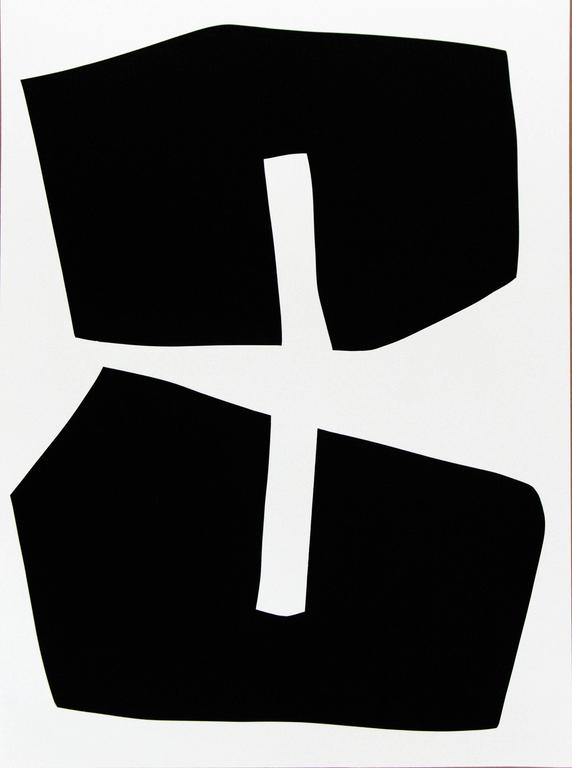 Aron Hill Abstract Painting - Plus Black Shape : Black and White Series