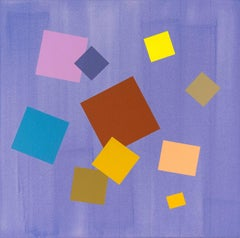 Periwinkle Grid Play - large, contemporary, geometric abstract acrylic on canvas