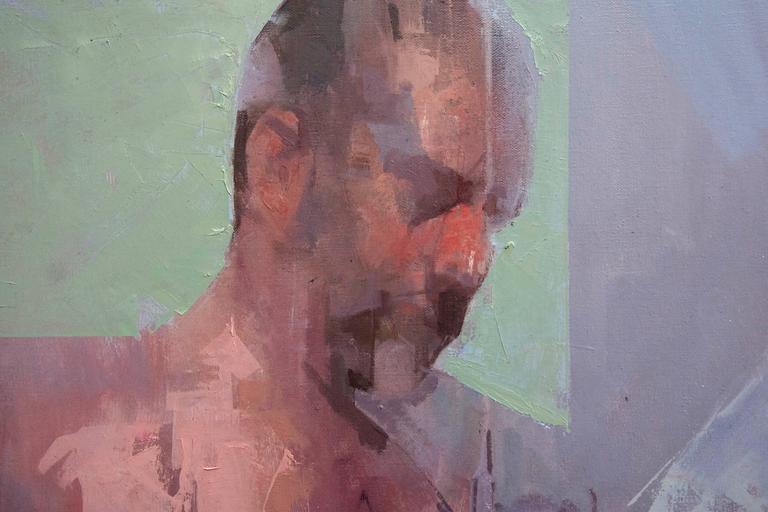 Self Portrait No 2 - Gray Figurative Painting by Daniel Hughes