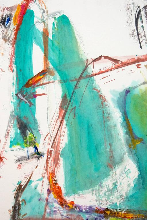Vertical, gestural composition in ink and acrylic paint with large areas of turquoise and ochre and spontaneous calligraphic lines of red, indigo and bright yellow. The overall intense movement in this painterly drawing is in keeping with Lui's
