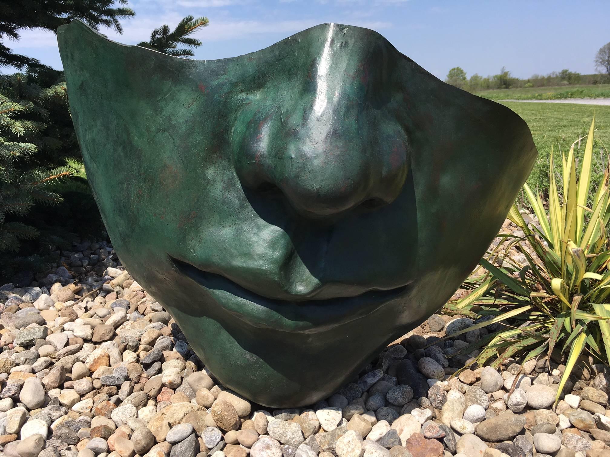 Head to Ear 2 - large, figurative, narrative, bronze outdoor sculpture