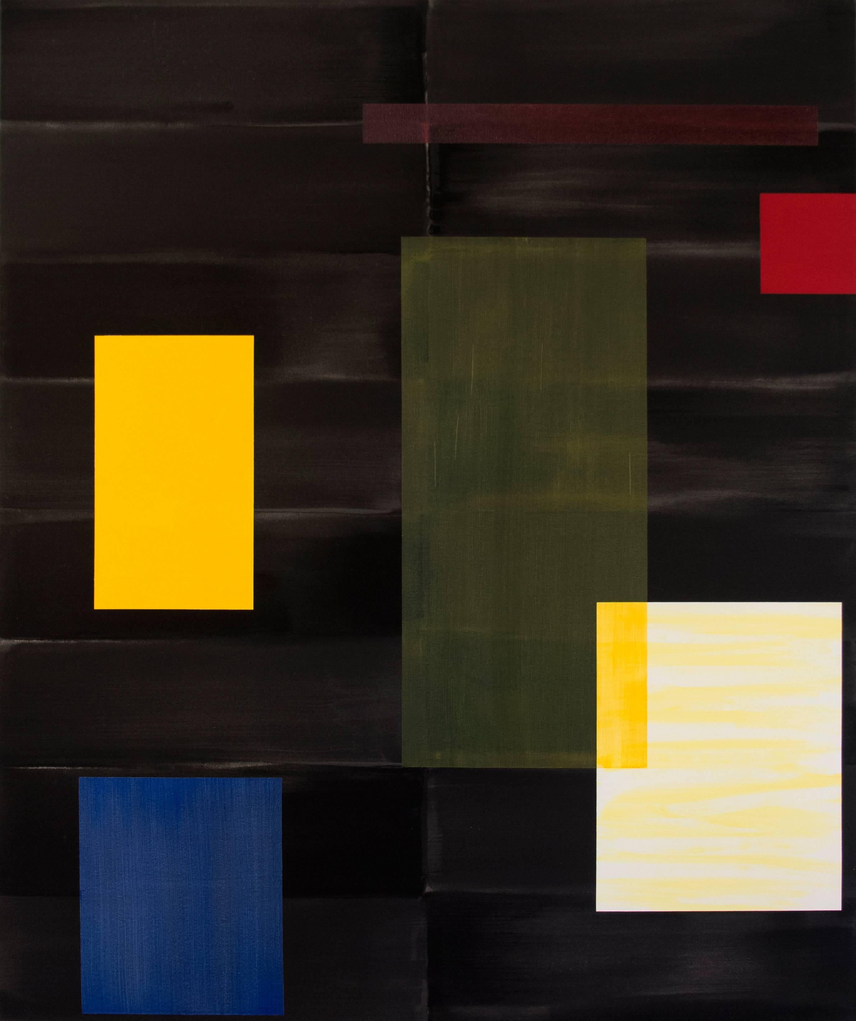 Black - large, yellow, green, blue, geometric abstraction, acrylic on canvas