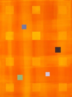 Yellow Orange Grid - bright and colourful abstracted grid acrylic painting