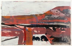 Carn - abstract landscape with pale red, orange, mauve and black