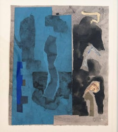Blue Symphony - intimate, abstract, cubist, acrylic collage on paper