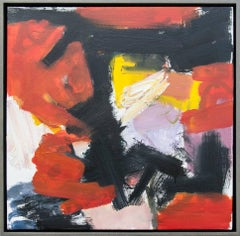 Kairoi No 17 - small, vibrant, red, yellow, gestural, abstract, oil on canvas