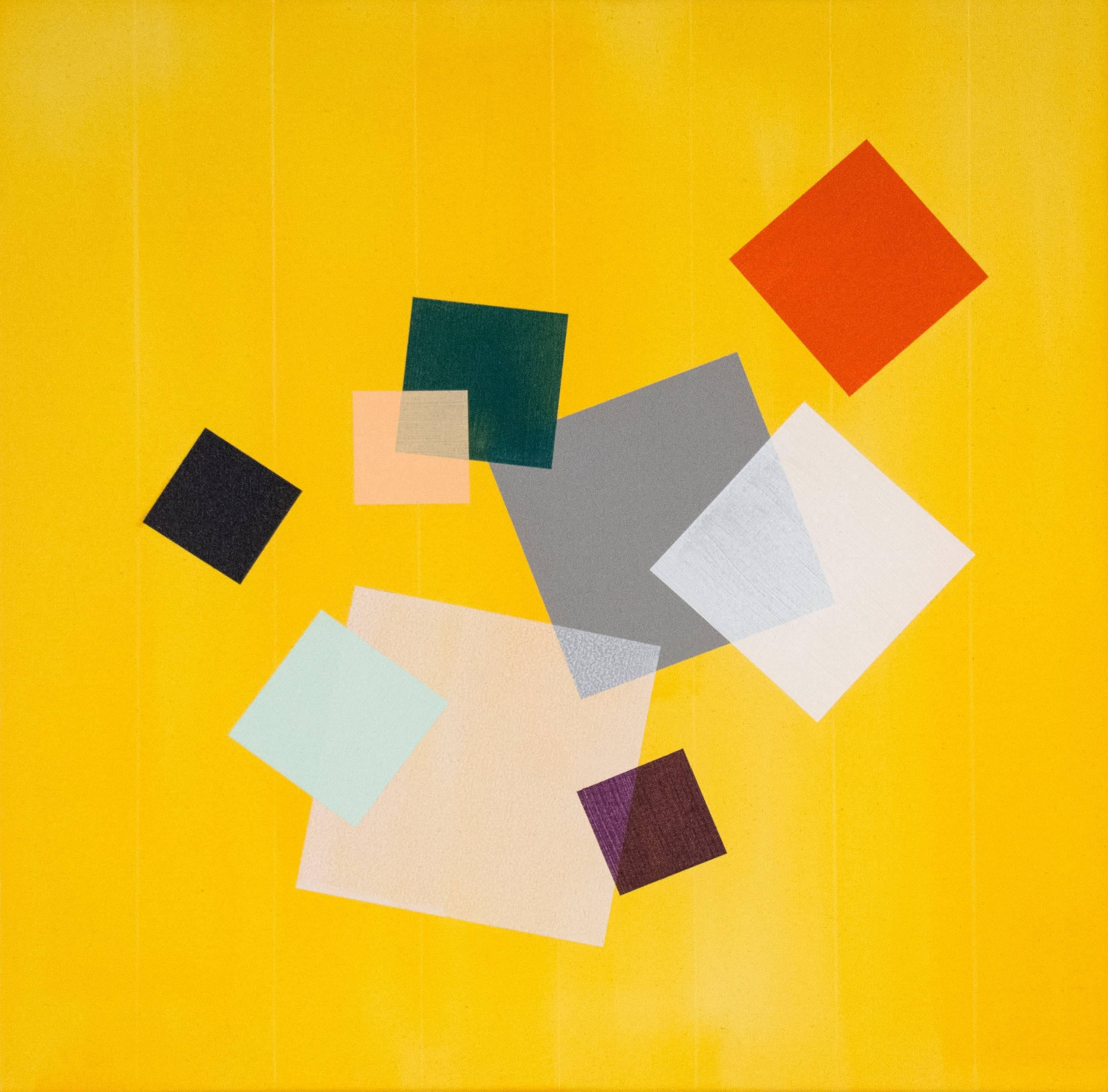 Yellow Grid Play - orange, grey, green, geometric abstract, acrylic on canvas