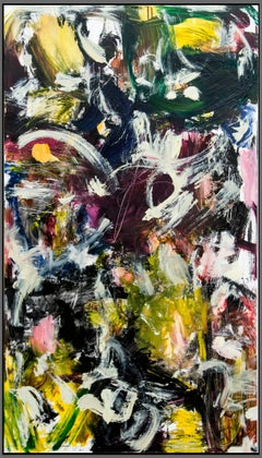 Kairoi No 38 - black, yellow and white powerful small abstract painting