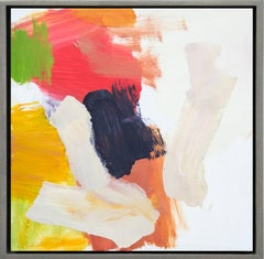 Kairoi No 26 - small, red, yellow, white, gestural abstract, oil on canvas