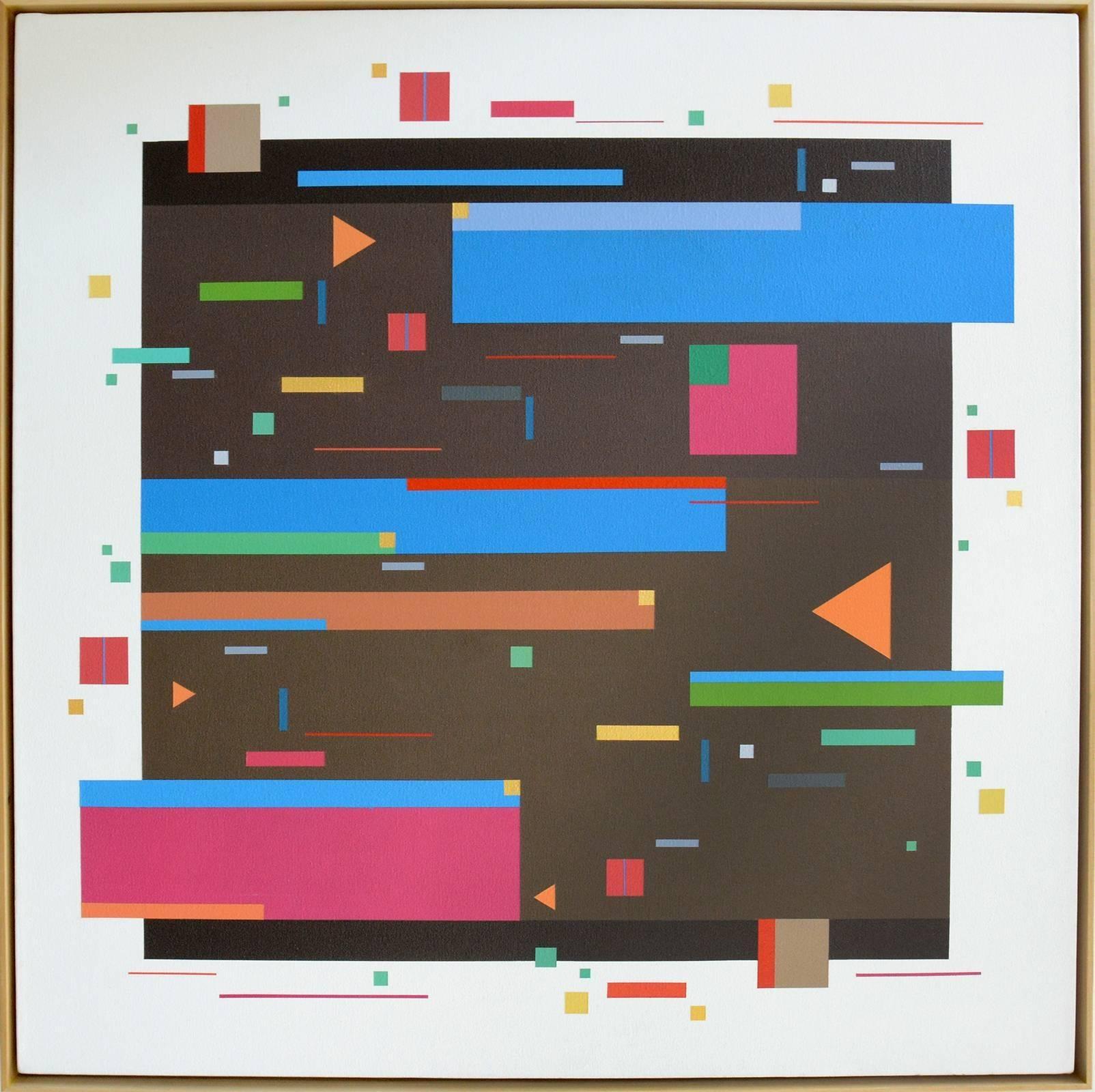 Line Dance 3B - colourful, geometric abstraction, modernist, acrylic on panel