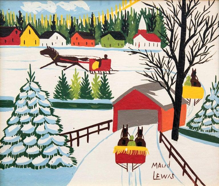 Maud Lewis Landscape Painting - Covered Bridge
