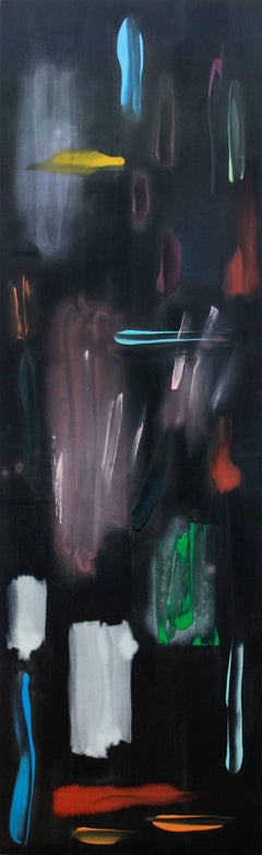 Ambient - tall, narrow, dark, bold strokes of colour, abstract acrylic on canvas