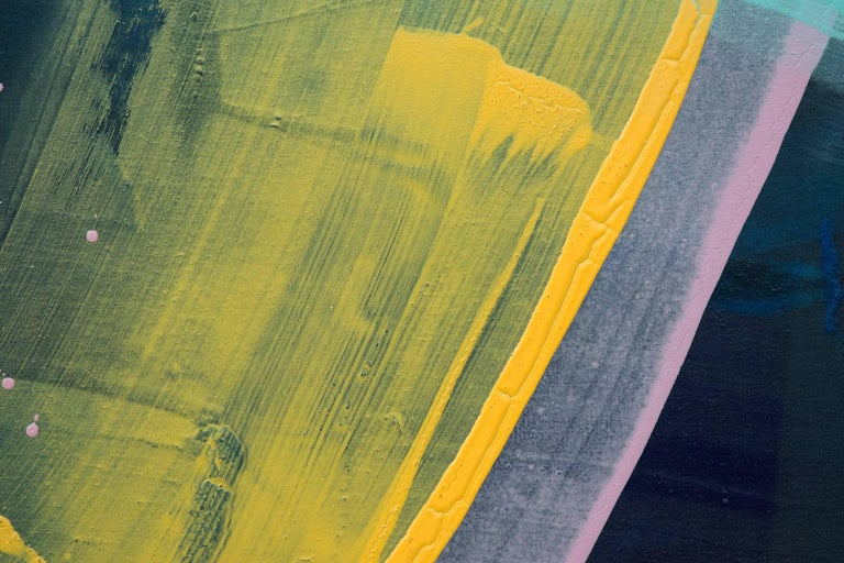Two gestural swaths of pink and yellow are interrupted in their race across the canvas by a pale blue horizontal on a ground brushed in cobalt in this acrylic by Milly Ristvedt. A spray of pink marks the trail of the tracking rings of Saturn.