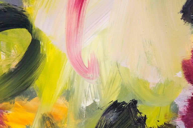Ouvert No 14 - small, red, yellow, green, gestural abstract, oil on canvas - Abstract Painting by Scott Pattinson