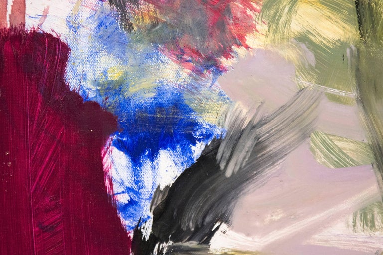 Ouvert No 14 - small, red, yellow, green, gestural abstract, oil on canvas - Beige Abstract Painting by Scott Pattinson