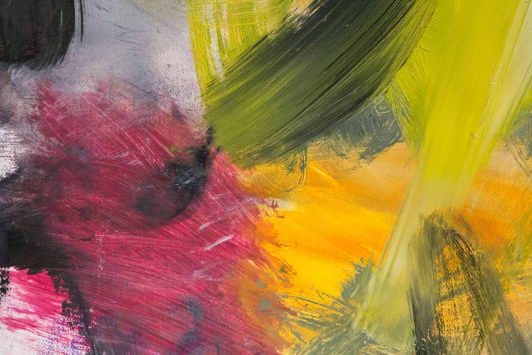 Swirling eddies of cerise, mauve and black frame a burst of yellow in this dynamic oil on canvas. A touch of cobalt blue adds a vibrant note to an already active composition.   Pattinson's work may be seen in the broader context of the early 21st