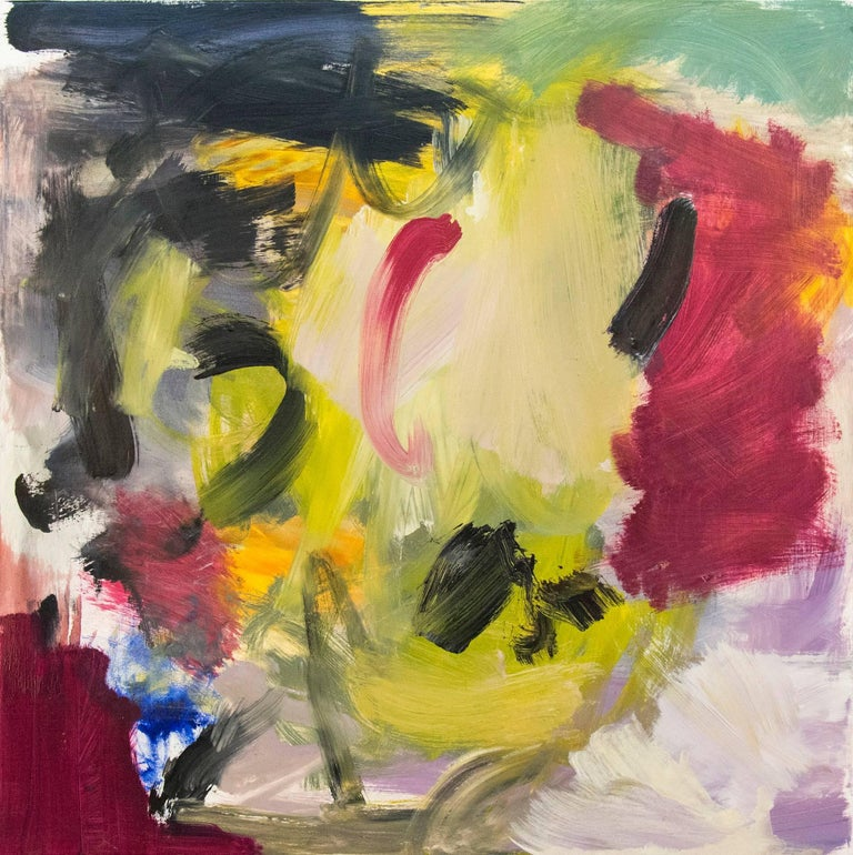 Scott Pattinson Abstract Painting - Ouvert No 14 - small, red, yellow, green, gestural abstract, oil on canvas