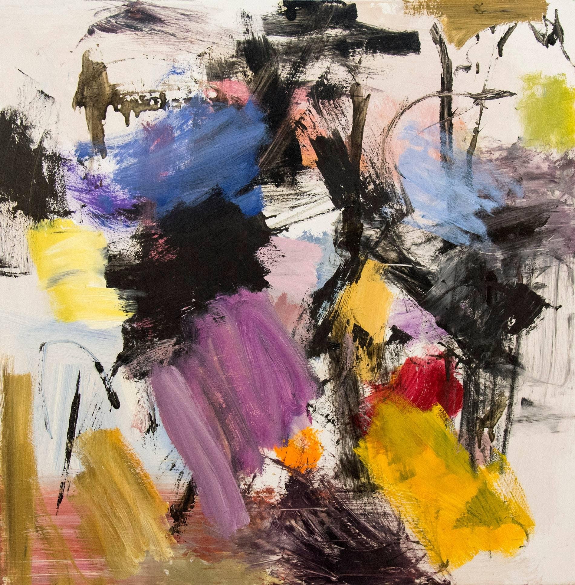 Ouvert No 17 - small, red, yellow, pink, blue, gestural abstract, oil on canvas