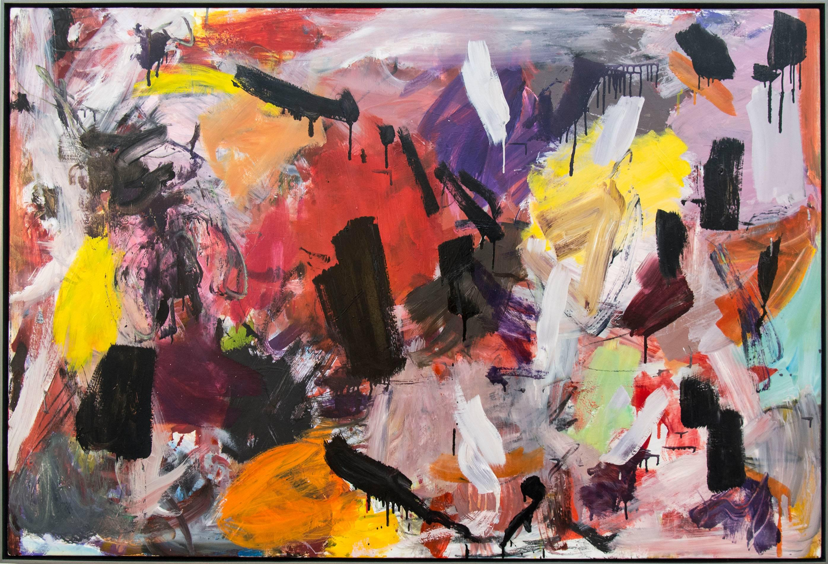 Ouvert No 18 - large, vibrant, colourful, gestural abstract, oil on canvas