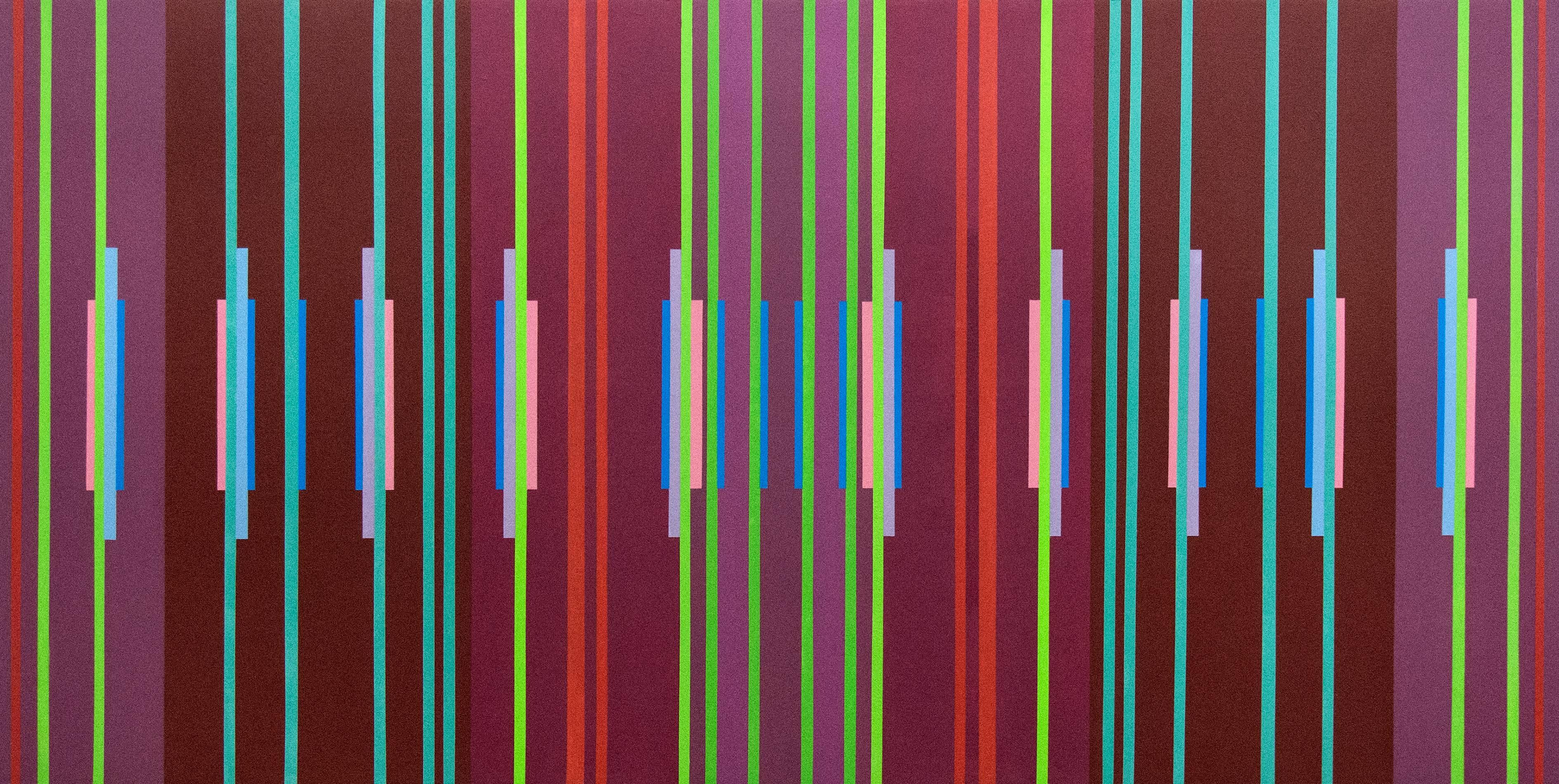 Fugue #2 - vivid, colourful, geometric abstraction, modernist, acrylic on panel