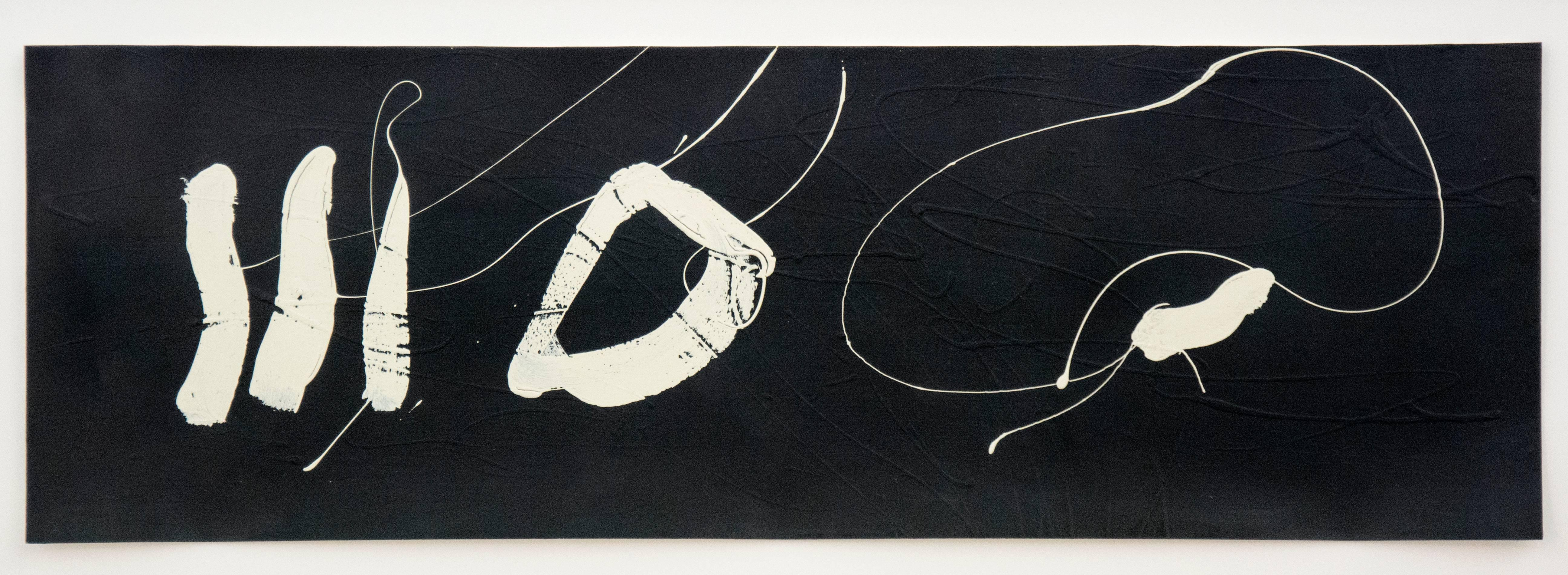 Sumi-e No 04 - black and white, minimalist, gestural, abstract acrylic on paper