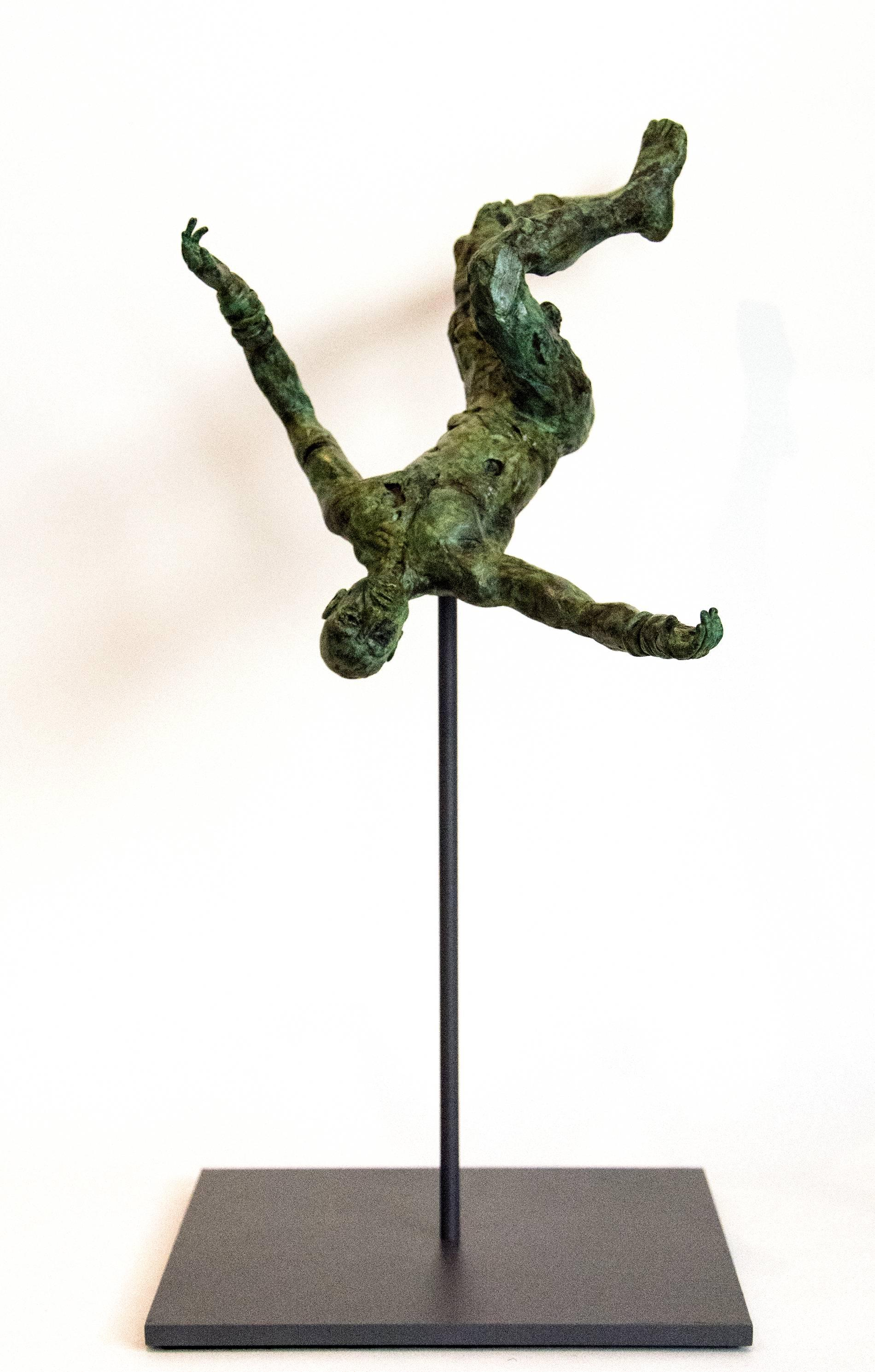 Equilibrium No 1 - small, lively, figurative, male, bronze, sculpture series