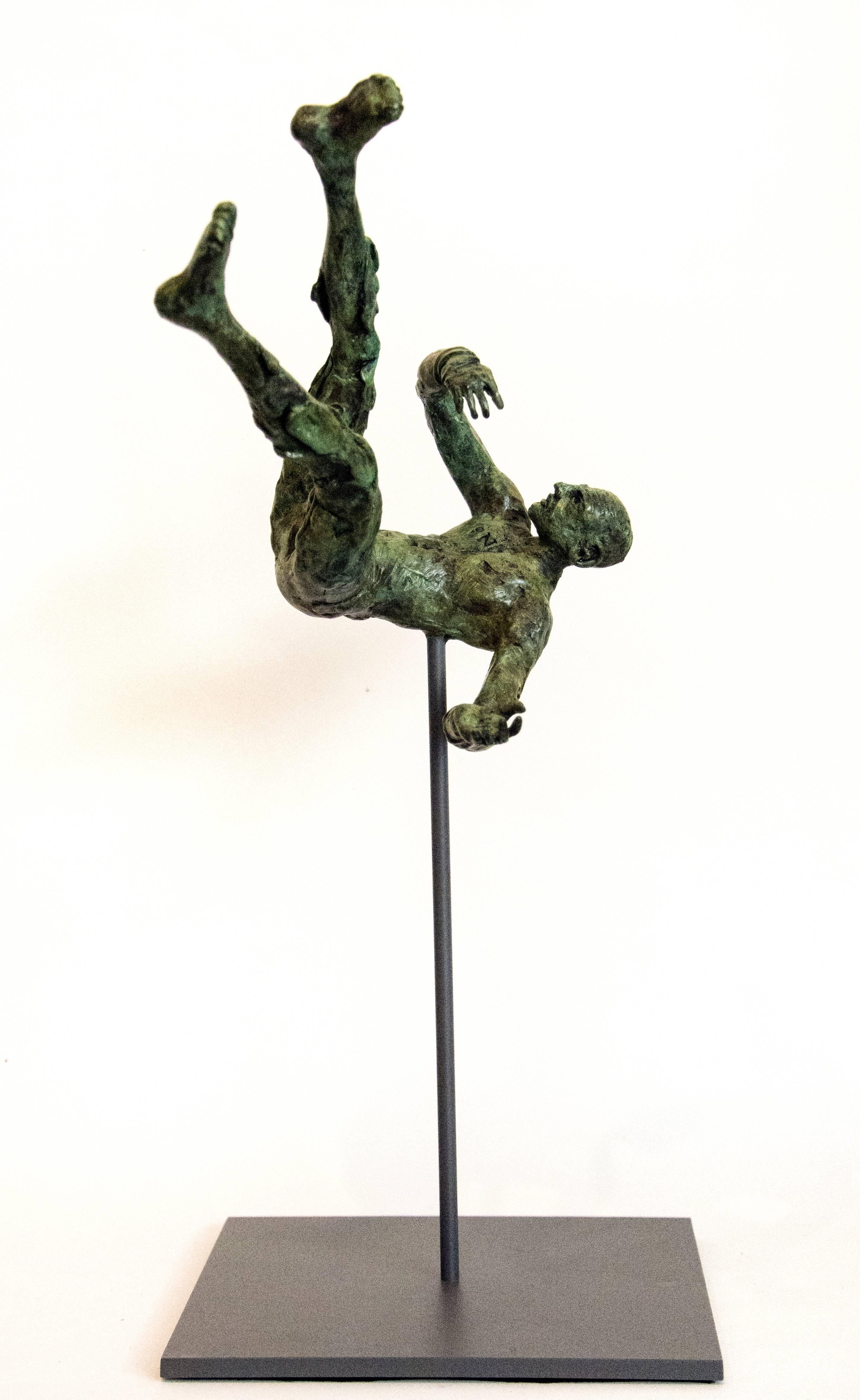 Equilibrium No 3 - small, lively, figurative, male, bronze, sculpture series
