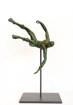 Equilibrium No 4 - small, lively, figurative, male, bronze, sculpture series