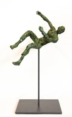 Equilibrium No 5 - small, lively, figurative, male, bronze, sculpture series