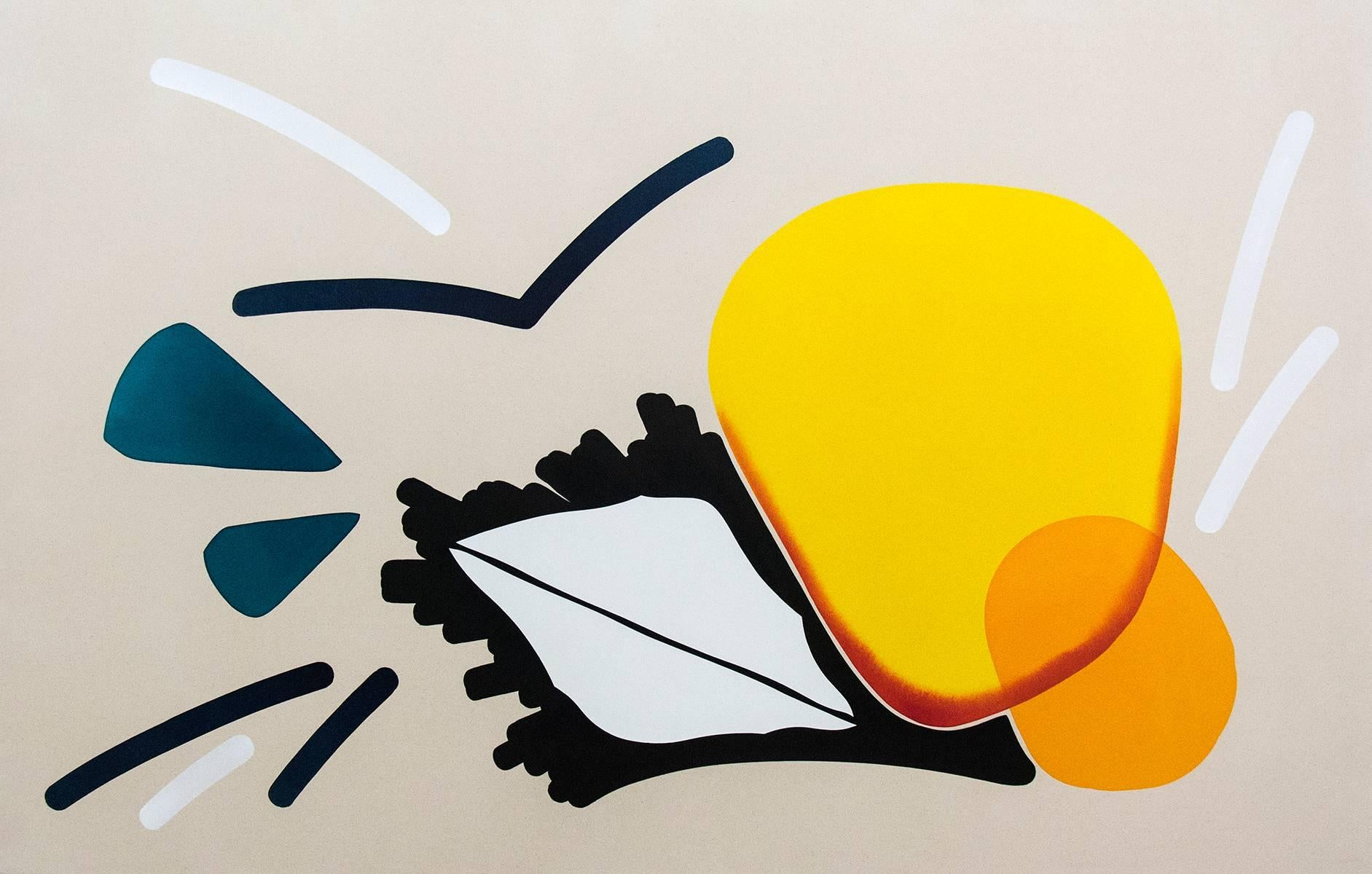 Double Sun with White Leaf - bright, colorful abstract shapes, acrylic on canvas