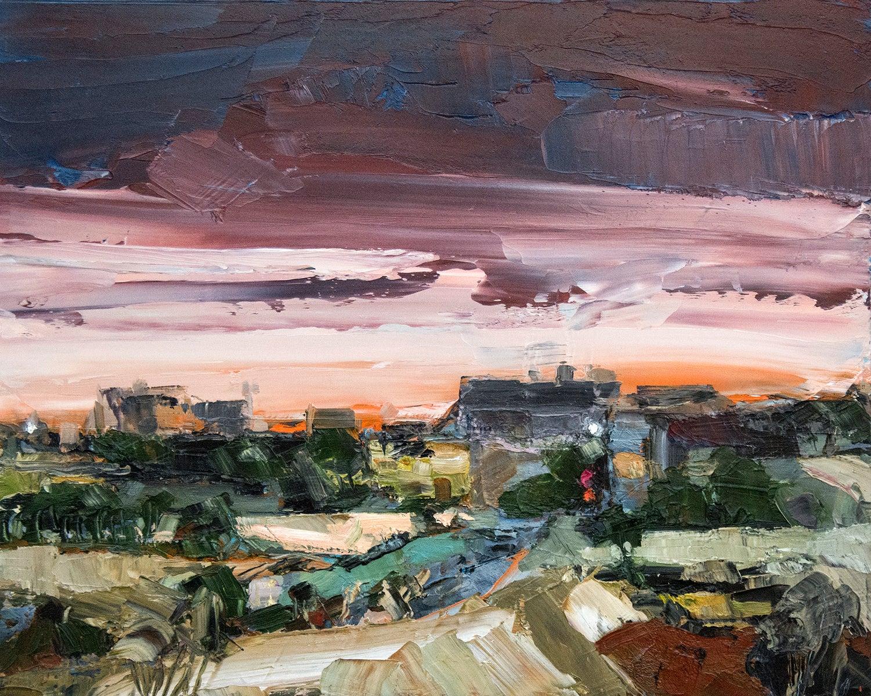 Early Shift - gestural, impasto landscape with fiery orange skyline
