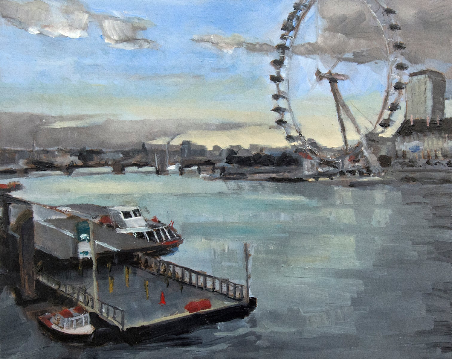 Thames with the Eye - moody London cityscape gestural oil impasto