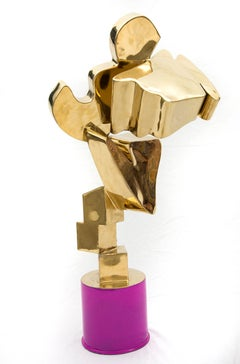 Gold and Hot Pink Abstract Sculpture