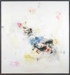 Ouvert No 78 - elelgant gestural abstraction on warm white
