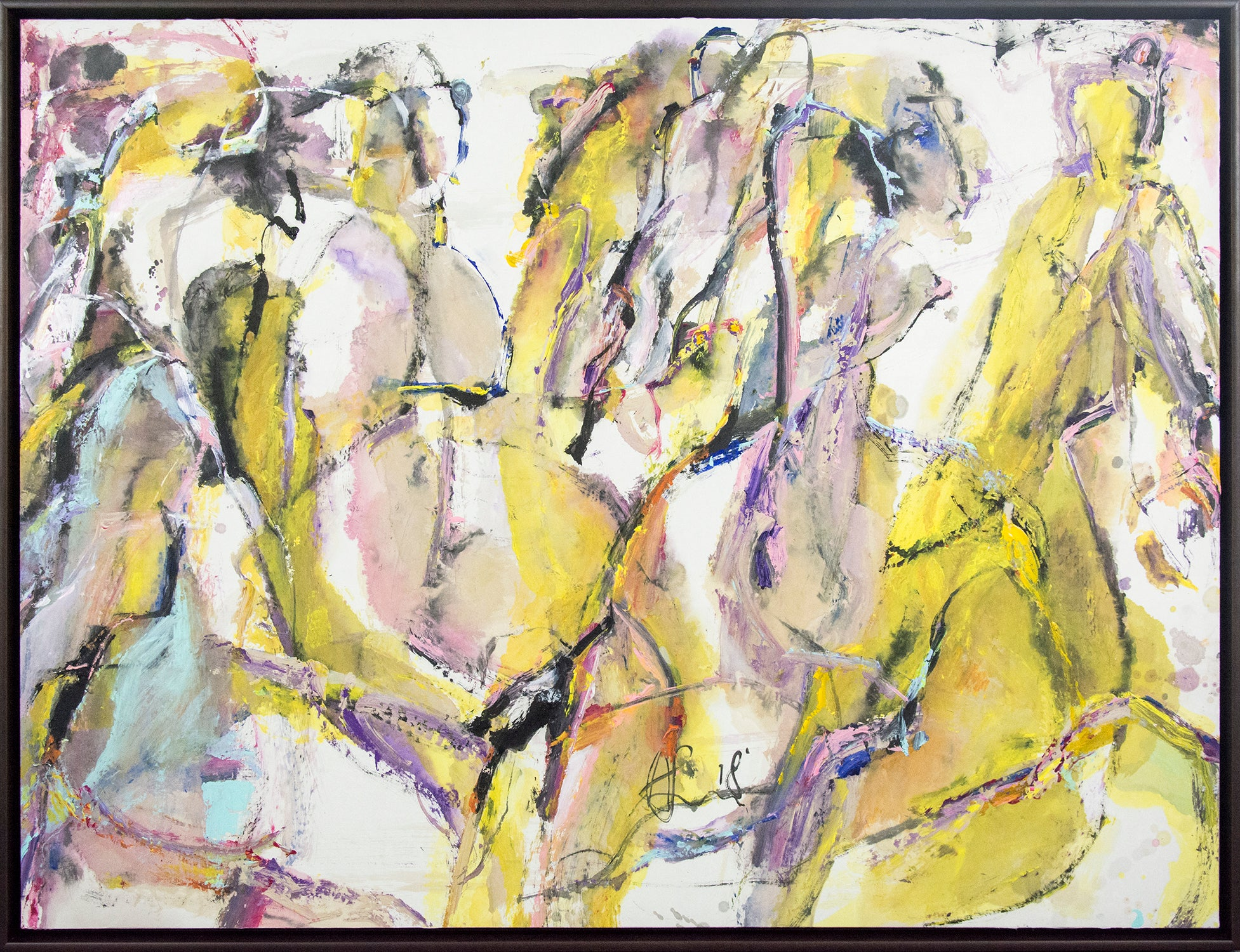 Spring Rumble II - bright, colourful, gesturally abstracted galloping horses