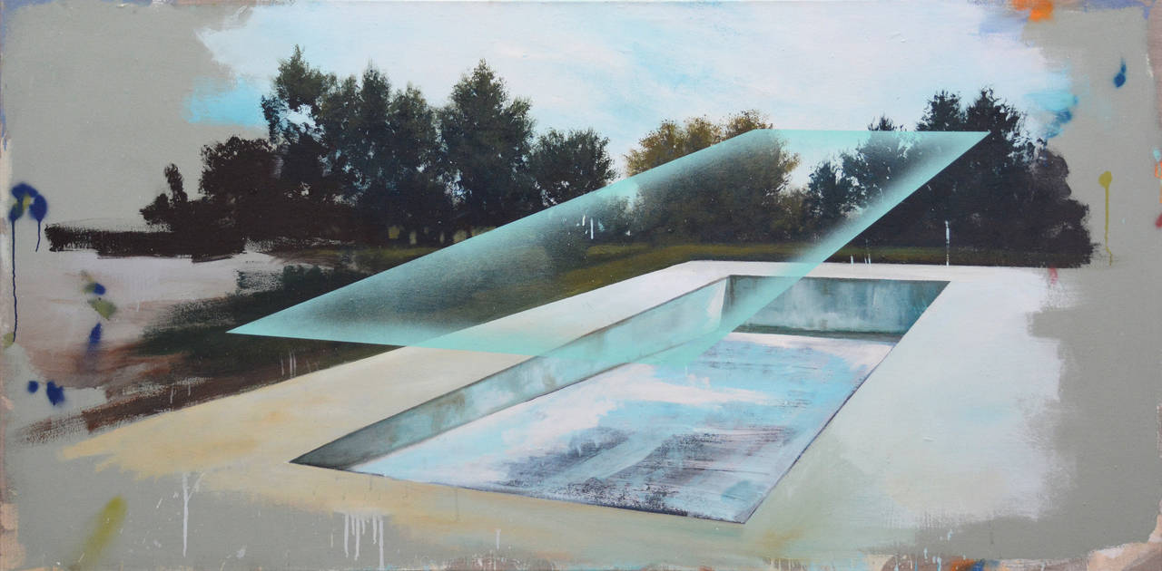 Piscine - large, blue, green, architecture, deconstruction, mixed media on linen