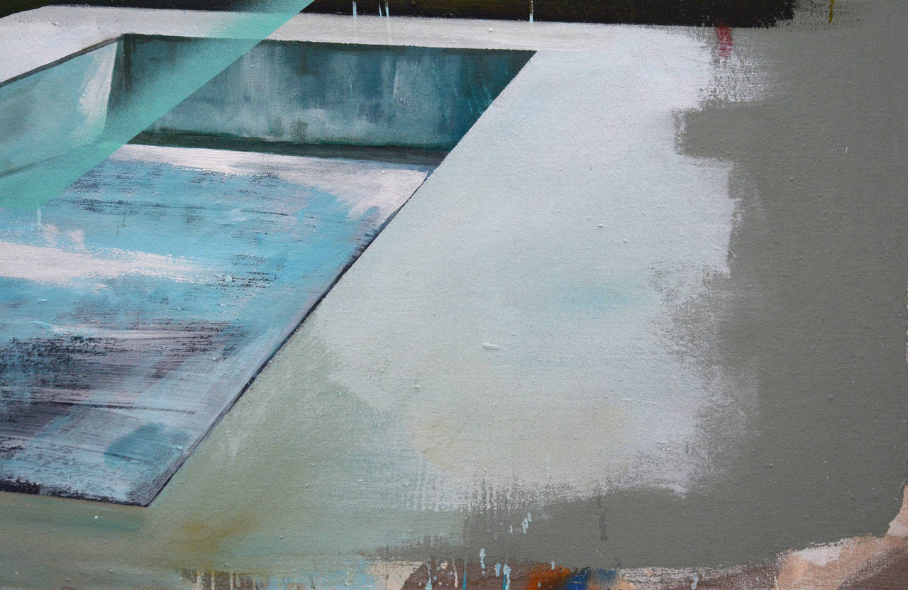 Peter Hoffer's landscapes have one foot in classic realism and the other in deconstruction. Often Hoffer uses mixed media on wood with high gloss resin, but this particular work is painted on linen with clay, silicate and pigment. This painting is