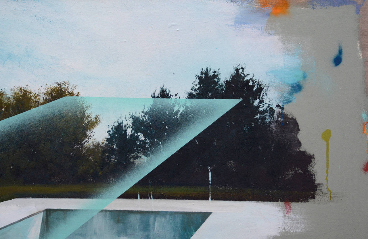 Piscine - Gray Landscape Painting by Peter Hoffer