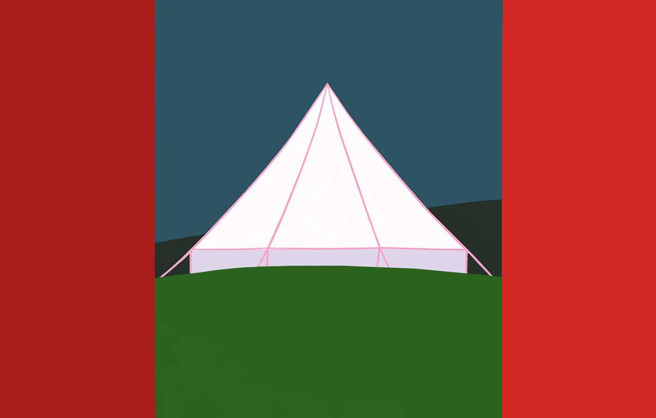 This particular painting is a play on the form of the Canadian flag, the military history of Canada, the journey implied by the use of the tent, and of course, the primary symbolism of the pyramid. In true Pachter form, he manages to challenge and