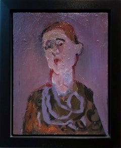 Femme avec cheveaux rouges - small lavender, pink, purple, female figurative oil