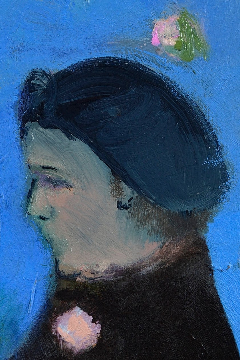 Lady with Brooch - Contemporary Painting by Jennifer Hornyak