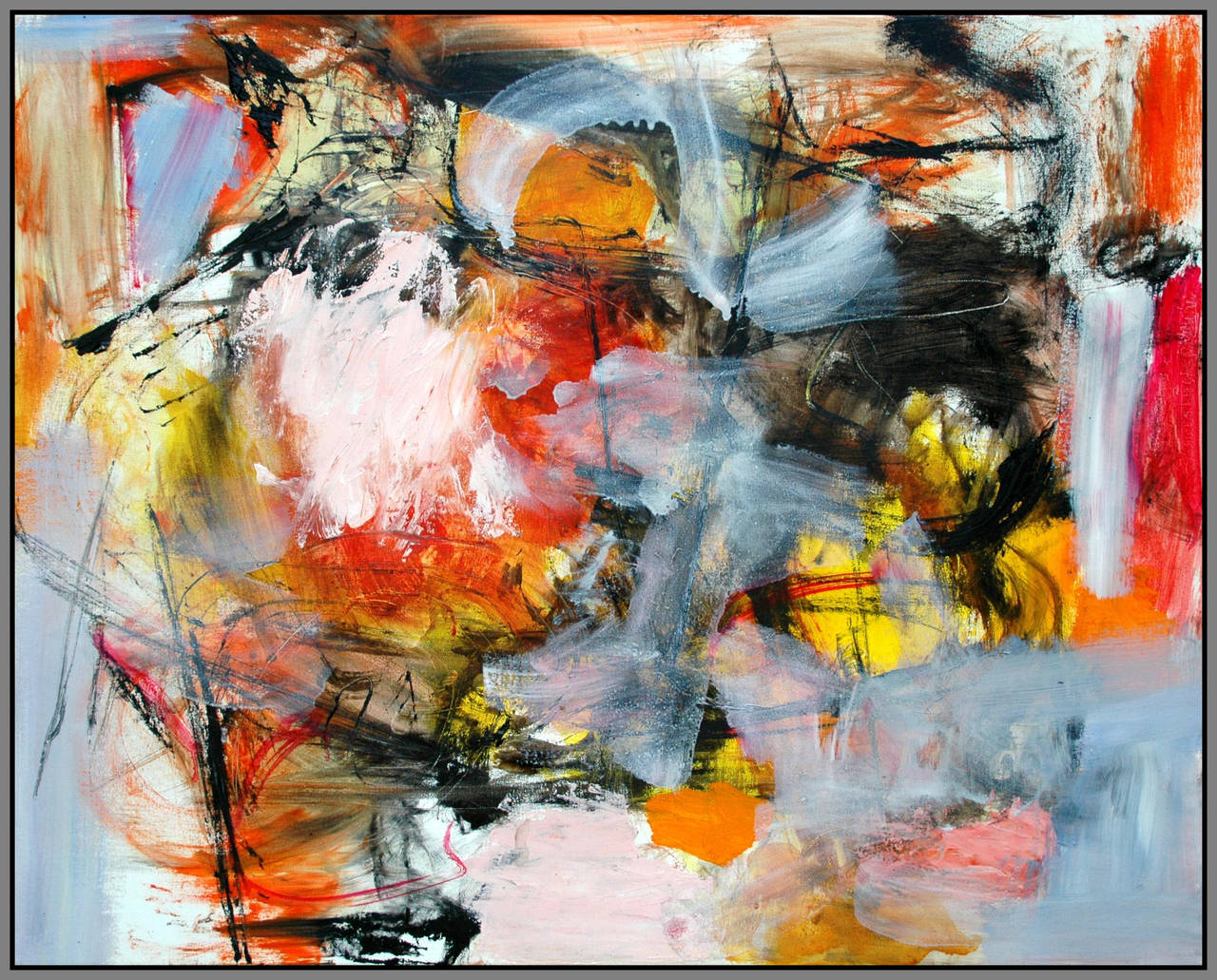 Denouement No 11 - vibrant red, orange, yellow, gestural abstract, oil on canvas
