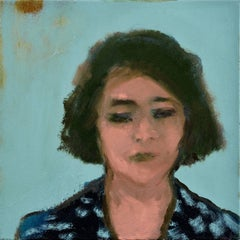 Woman with Print Dress - small teal blue, female portrait figurative still life