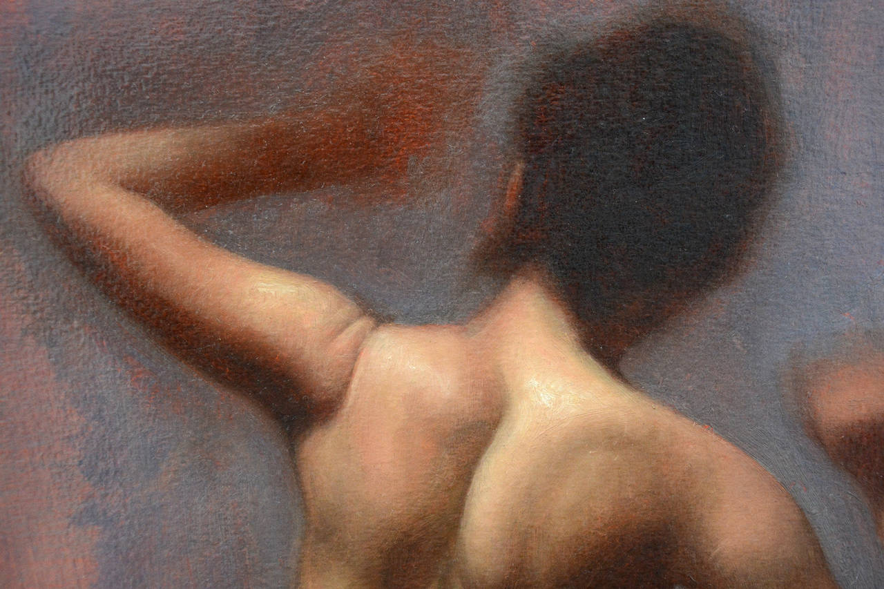 Nude Back - Painting by Daniel Hughes