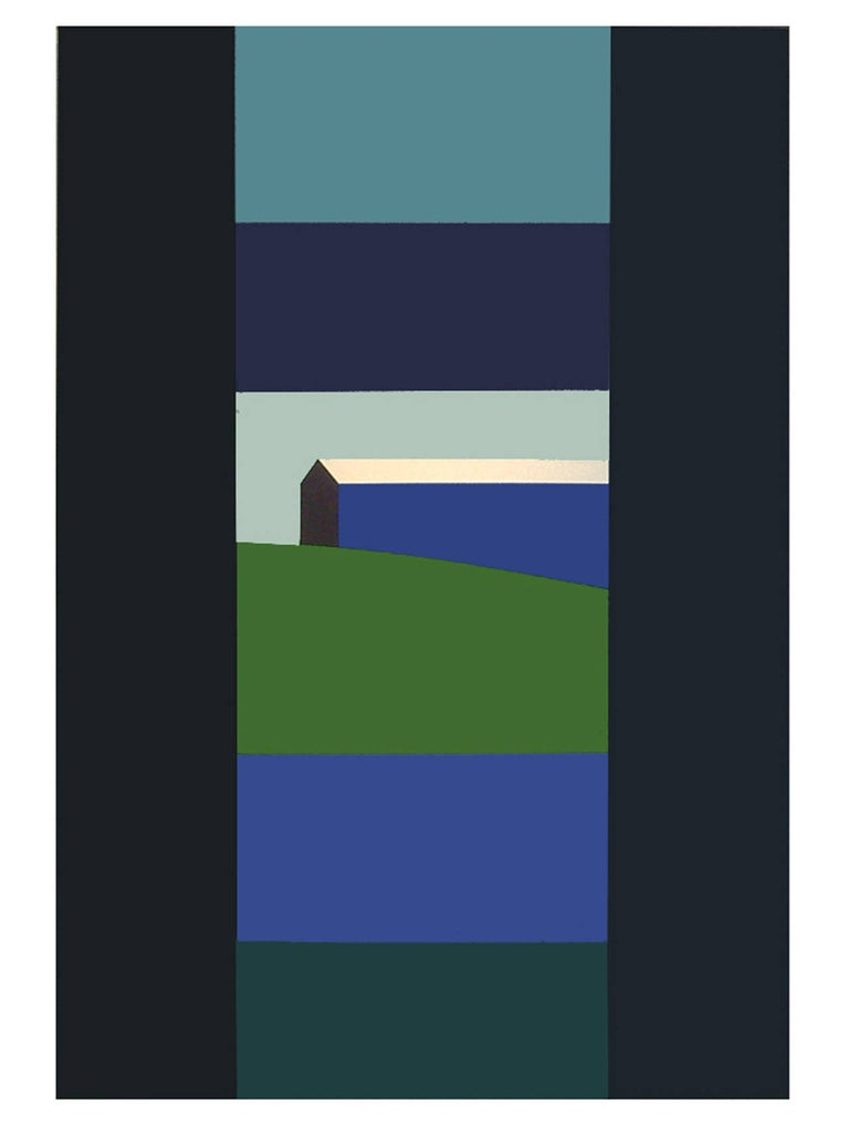 Charles Pachter Landscape Painting - Blue Barn Green Field