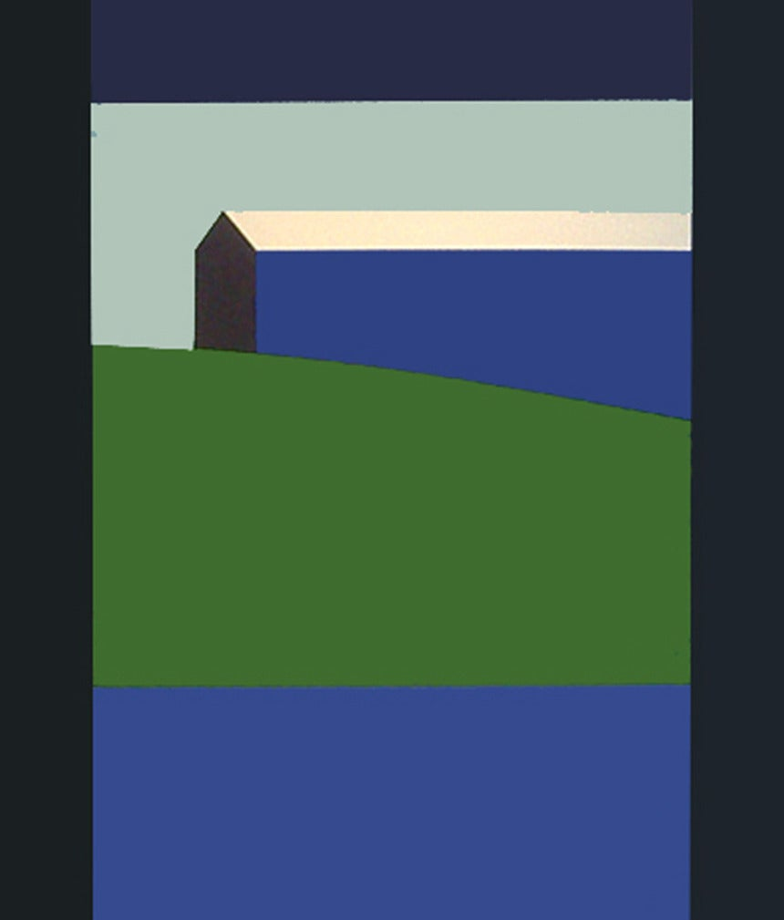 Blue Barn Green Field - Painting by Charles Pachter