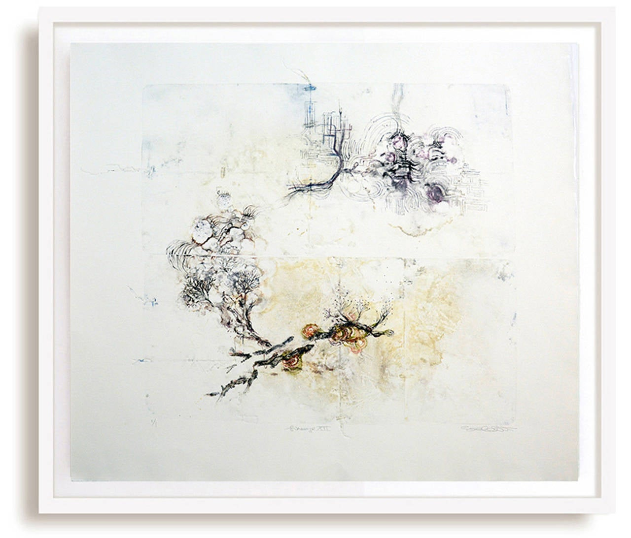 Lineage XII - delicate, copper, oil ink, sketch, monoprint on archival paper
