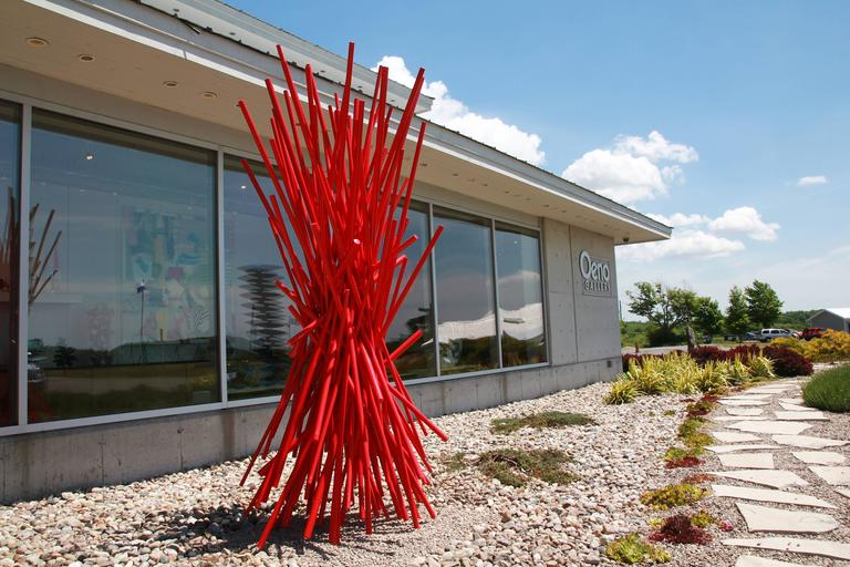 Entangled Red - Gray Abstract Sculpture by Shayne Dark