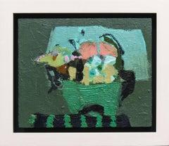 Petit panier vert - elegant small green, yellow, lilac floral still life oil