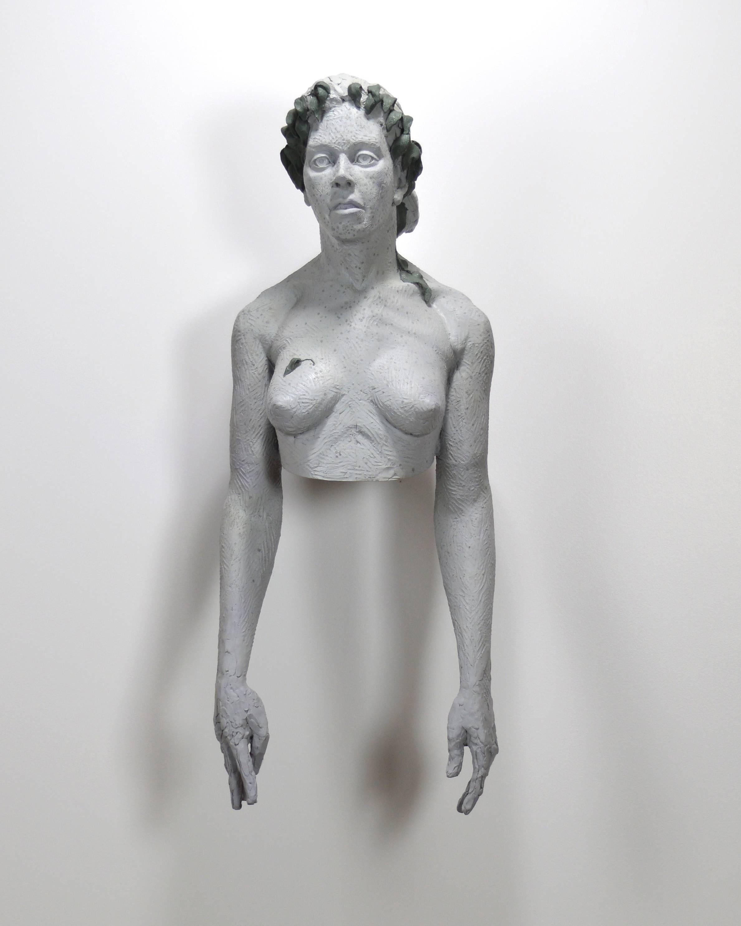 Woman Wearing Wilting Laurels - edgy, life size, nude, female, wall sculpture